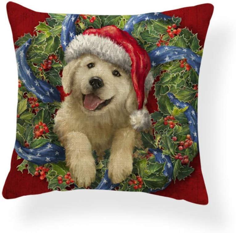 QTYVI Perro Gingerbread Man Cojines Navidad Bastones de Caramelo Fundas de Almohada Patchwork Sofá Siesta Mat Throw Pillow Lino Personalizado Sala de Estar sofá(3 Piezas)
