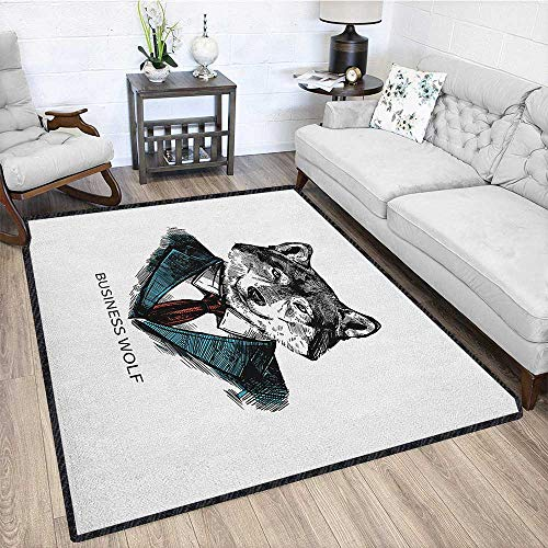 Wolf Graceful Area Rug,Business Animal in Suit with Jacket Shirt and Tie Sketch Style Hipster Print Environmental Protection Fabric Teal Vermilion Black - Jacket Torino