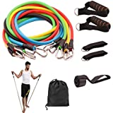Resistance Bands Set 11 Pieces with Exercise Tube Bands,Resistance Loop Band,Core Sliders,Door anchor,ankle Straps For Resistance Training,Home Workouts,Physical Therapy,Strengthening Muscle