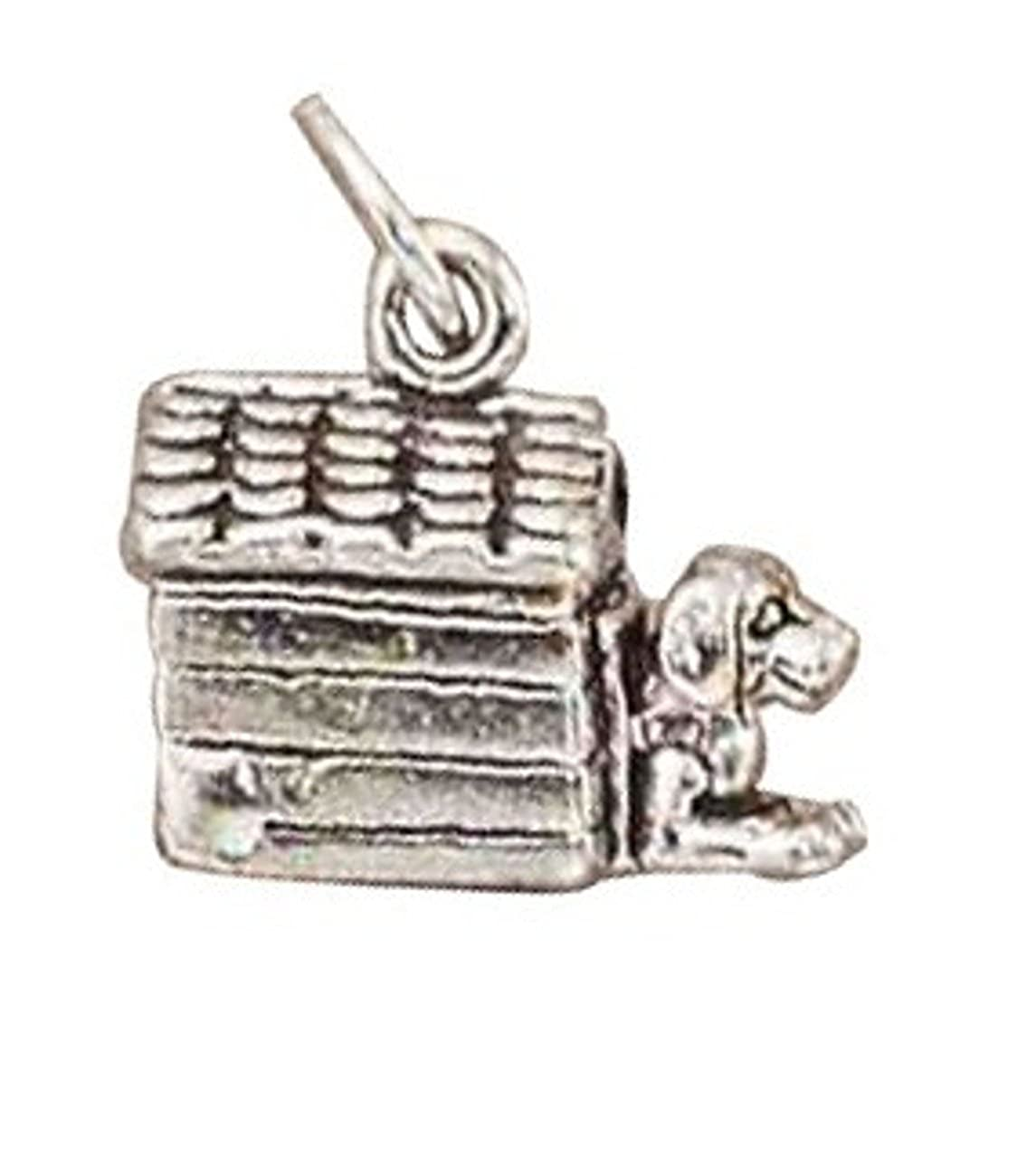 Sterling Silver Girls .8mm Box Chain 3D Dog In Doghouse Pendant Necklace