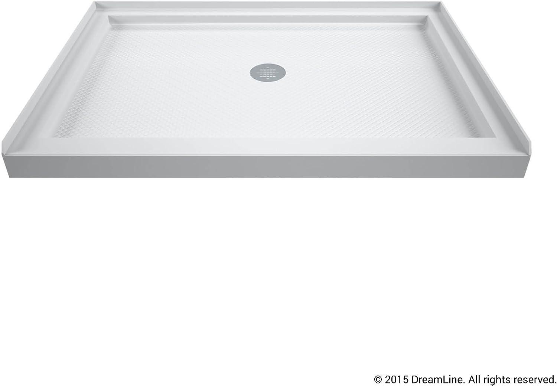 DreamLine SlimLine 34 in. D x 48 in. W x 2 3/4 in. H Center Drain Single Threshold Shower Base in White, DLT-1134480