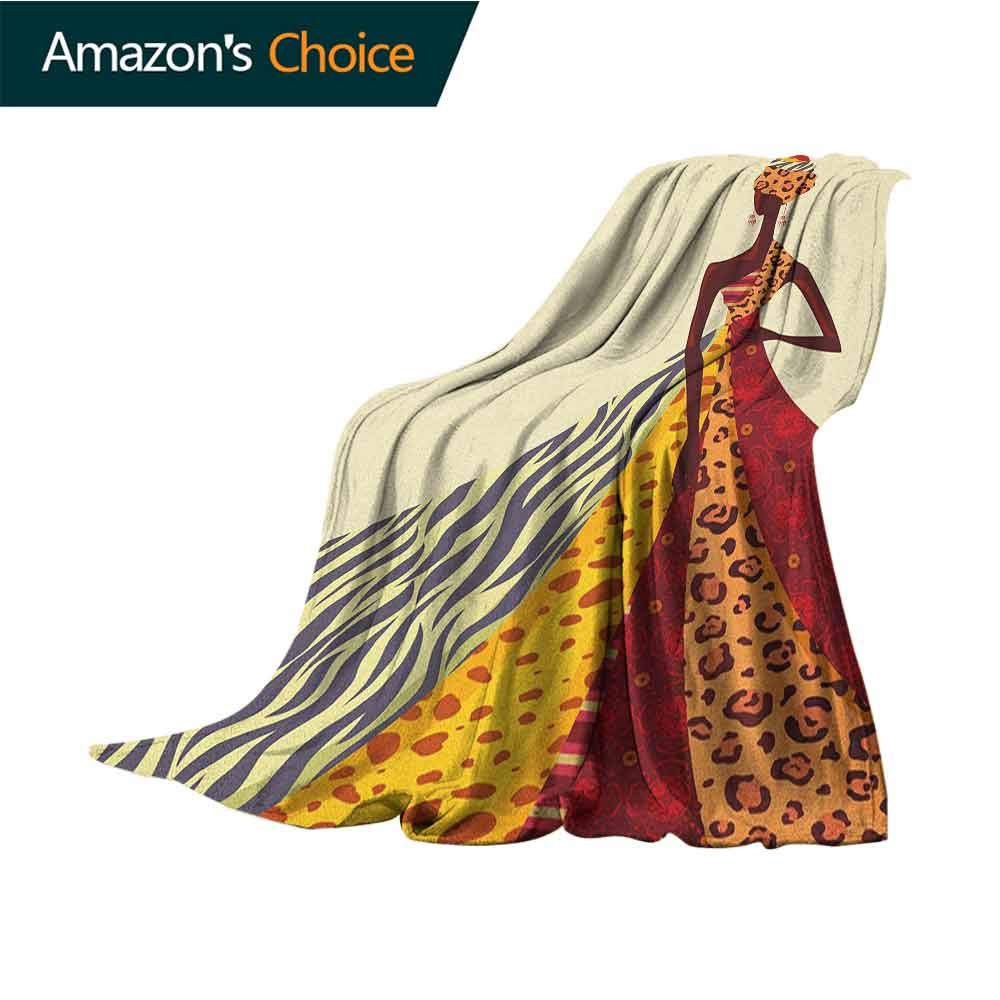 Modern Faux Fur Throw Blanket,African Girl Posing with a Dress of Different Design Patterned Image Artful Print 300GSM,Super Soft and Warm,Durable Throw Blanket,50'' Wx60 L Multicolor