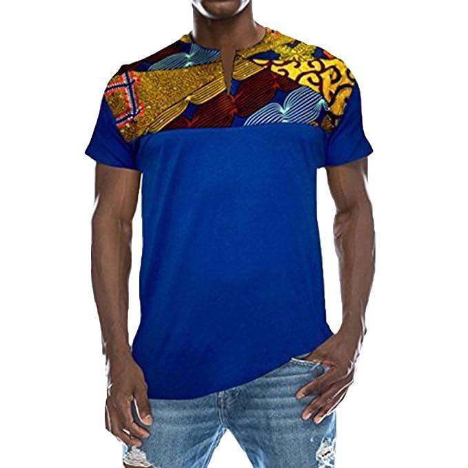 Camisa Manga Corta con Cuello En V para Hombres Camiseta Tricolor ...