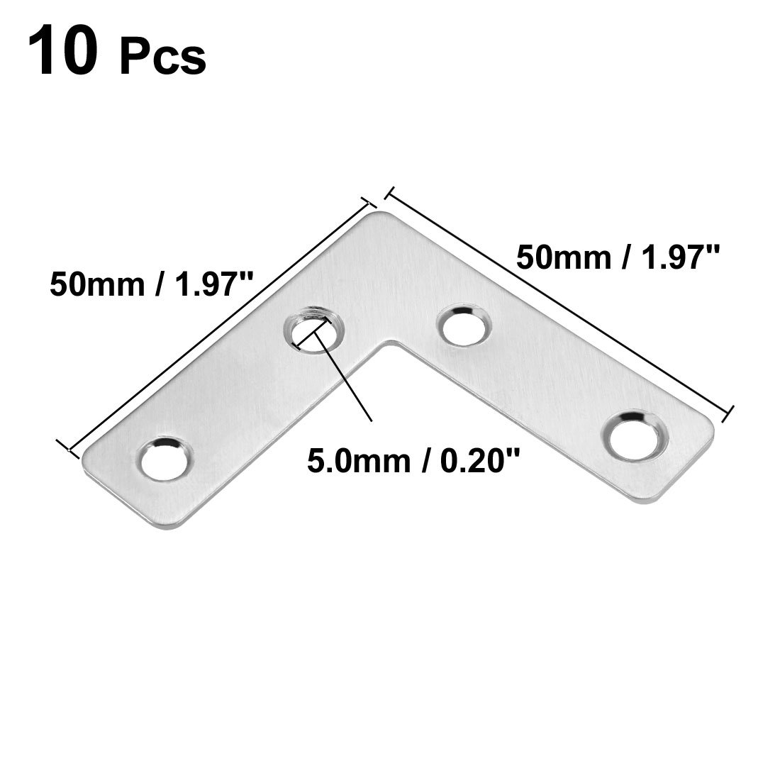 60mmx60mm sourcingmap Flat Plate L Shape Pack of 10 Stainless Steel 304 Angle Corner Brace Repair Brackets
