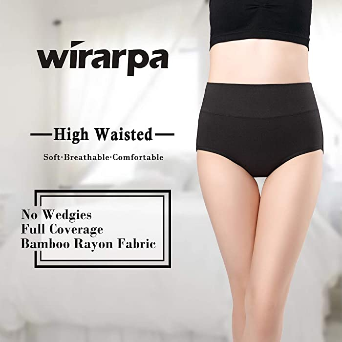 53db21bbedb wirarpa Women s Ultra Soft High Waist Bamboo Modal Underwear Panties ...