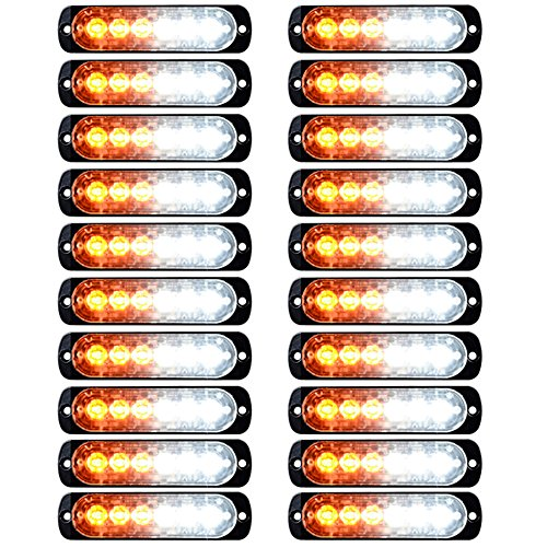 (20X 6-LED Amber White Warning Emergency Hazard Flash Strobe Light Bar Surface Mount Car Truck Van)