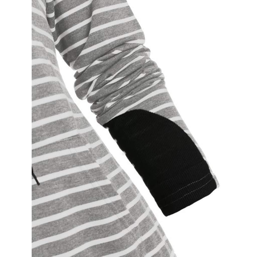 shitou Women Long Sleeve Striped Navy Collar Hooded Sweater Zipper Cuff Splicing Blouse