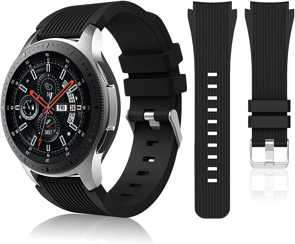 HSWAI Compatible with Samsung Galaxy Watch 46mm Bands/Gear S3 Frontier, Classic Watch Bands/Galaxy Watch 3 Bands 45mm, 22mm Soft Silicone Bands Bracelet Sports Strap for Men & Women. (Black)