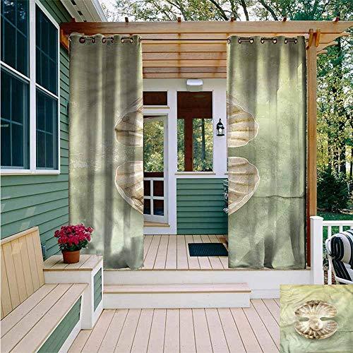 Beihai1Sun Outdoor Grommet Window Curtain,Pearls Open Shell Marine Life,Waterproof Patio Door Panel,W84x96L