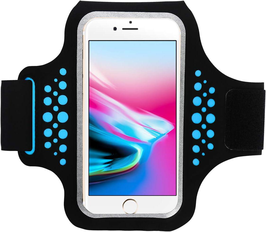 Brazalete Deportivo Running Para Deportes Con soporte para llaves, cables y tarjetas para iPhone X/8/7/6,Galaxy S9/S8 Huawei, Bq x5, HTC, LG hasta 5.1''