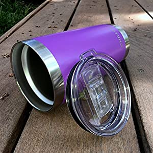 20 oz Stainless Steel Tumbler with Splash Proof Sliding Lid - Premium Quality Double Wall Vacuum Insulated Travel Coffee Mug - Purple Cup for Hot & Cold Drinks - Purple Powder Coated Tumbler 20 oz