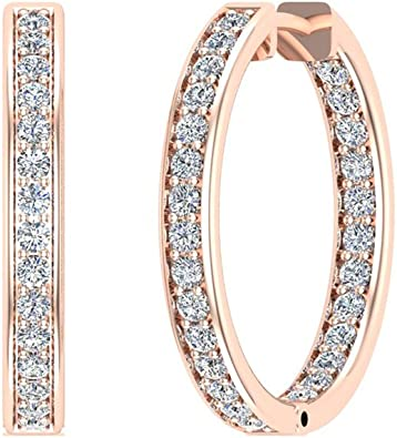 1.62 ct tw Hoop Earrings 26 mm Diamond Line Setting Secure Click-in Lock 18K Gold G,SI