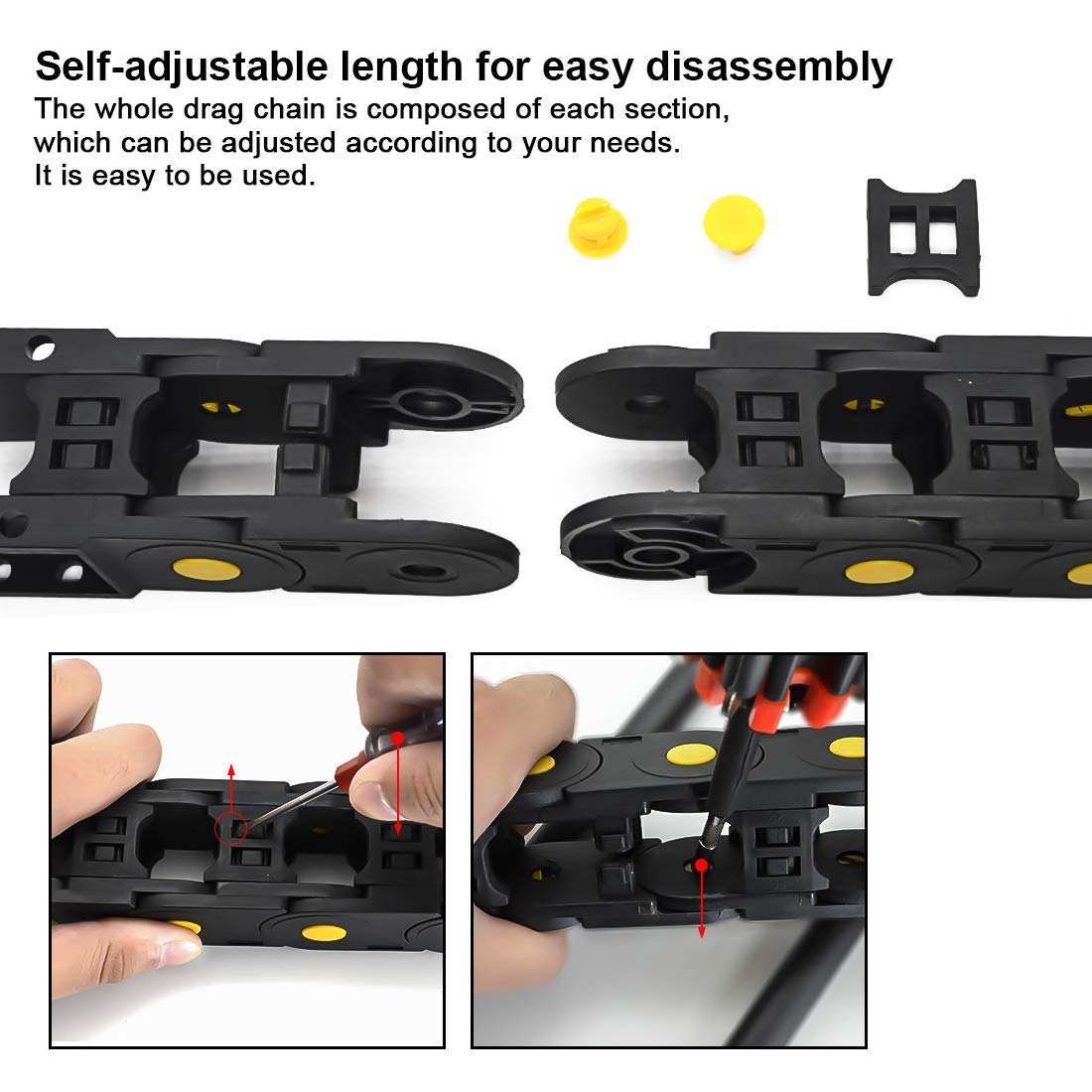 Inner H x Inner W with End Connectors Black Plastic Cable Wire Carrier Drag Chain 1M Length for CNC LMioEtool R55 25mm x 25mm openable Bridge Type