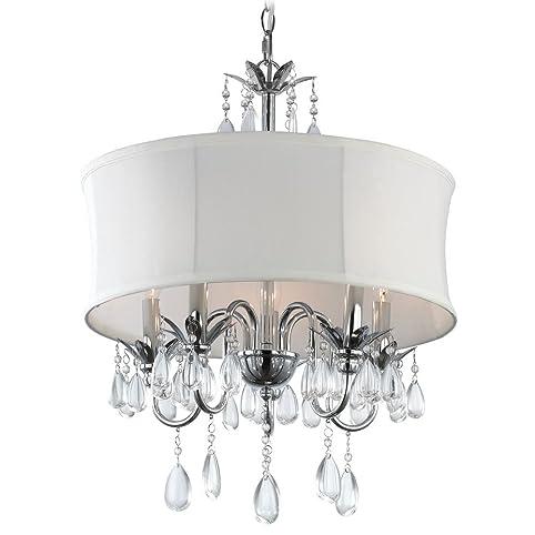 White Drum Shade Crystal Chandelier Pendant Light - Ceiling ...