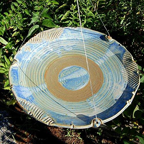 Anthony Stoneware Ceramic Bird Bath, Medium, French Blue