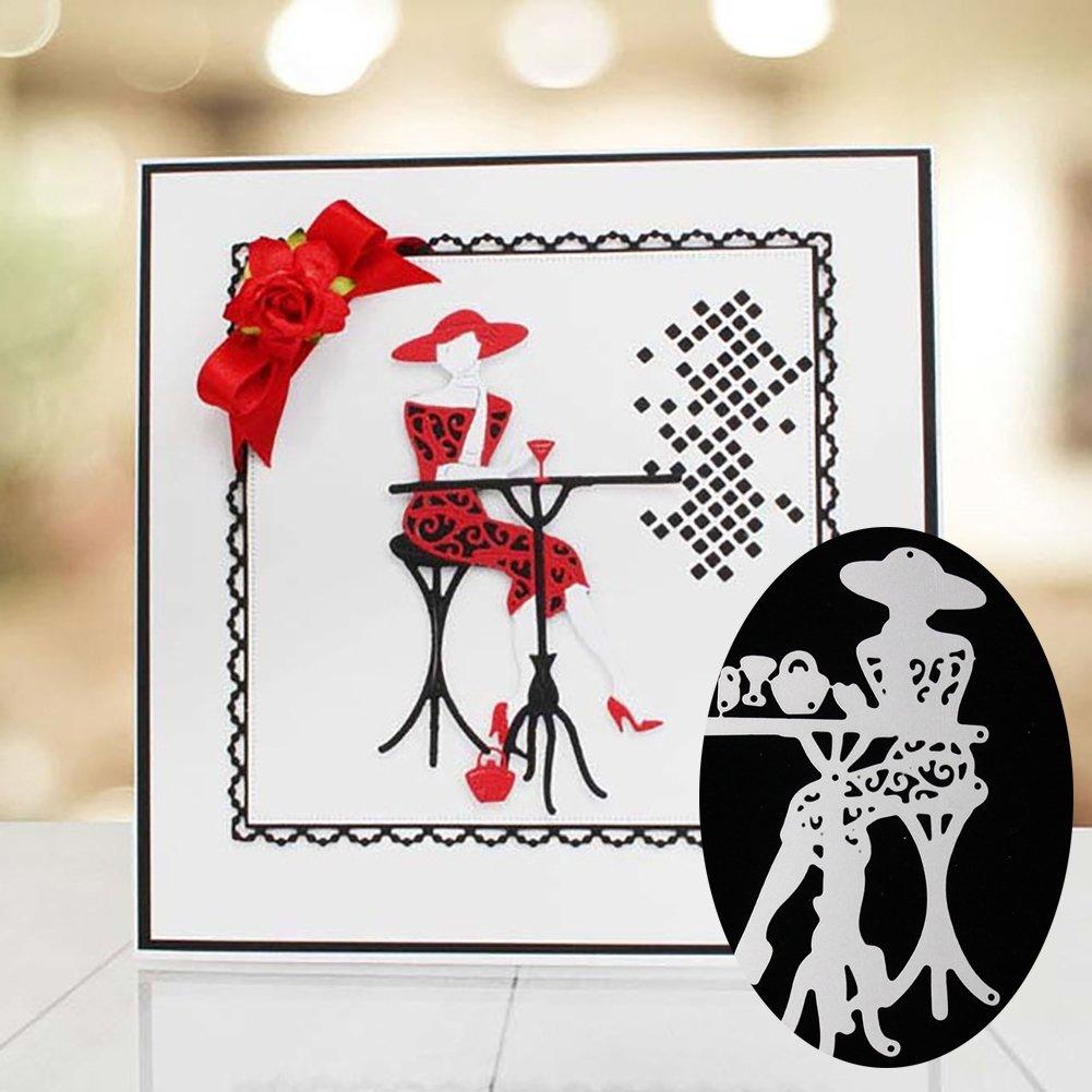 Silver yanQxIzbiu Cutting die Art Paper Craft Sitting Lady Carbon Steel Embossing Cutting Die DIY Card Stencil