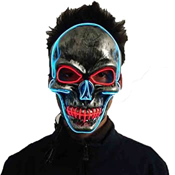 scary led mask purge halloween light up costumes glow stick party city mask for parties festival