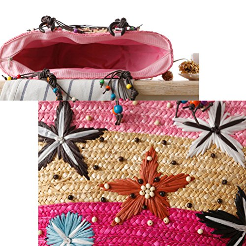 Zhuhaitf Ventas calientes Summer High Quality Womens Handmade Embroidery Handbags Starfish Woven Bag Beaded Bags Green