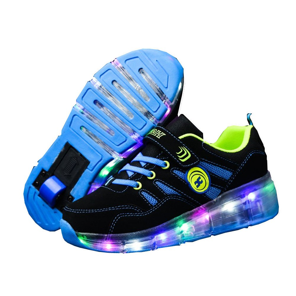Ufatansy CPS LED Fashion Sneakers Kids Girls Boys Light Up Wheels Skate Shoes Comfortable Mesh Surface Roller Sneaker (4.5 M US,Single Wheel Blue)