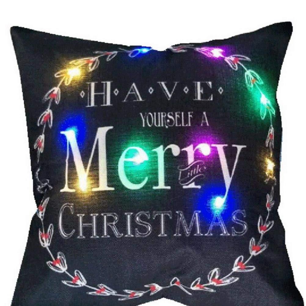 Oulensy La Copertura del Cuscino di Natale LED Luminoso della Luce tiro Cuscino Covesrs per la casa del Partito Nuovo di Natale Decorativi Deer Santa Claus Federe Casuale