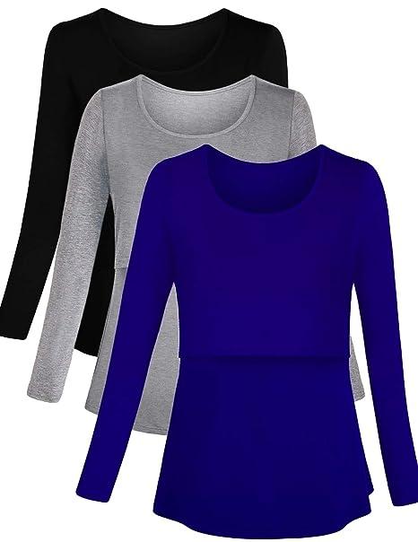 f0925de3e3ff3 PrettyLife Womens Maternity Nursing Tops Long Sleeve Double Layer Breastfeeding  Shirt 3 Pack (Black/