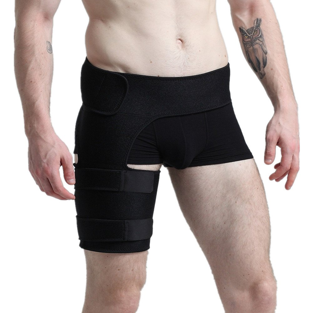 Groin Support - Adjustable Thigh Compression Wrap with Waist Support - Hamstring Brace for Sciatic Nerve,Leg Pain,Muscle Pull - Relief and Recovery Boost for Sports - Fits Men & Women