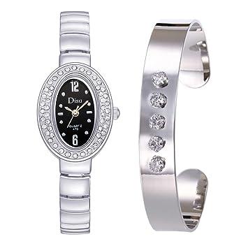 Longra Relojes Decorativo de Cristal Ovalado para Mujer, Juego de Pulsera con Cadena de Regalo de cumpleaños: Amazon.es: Deportes y aire libre