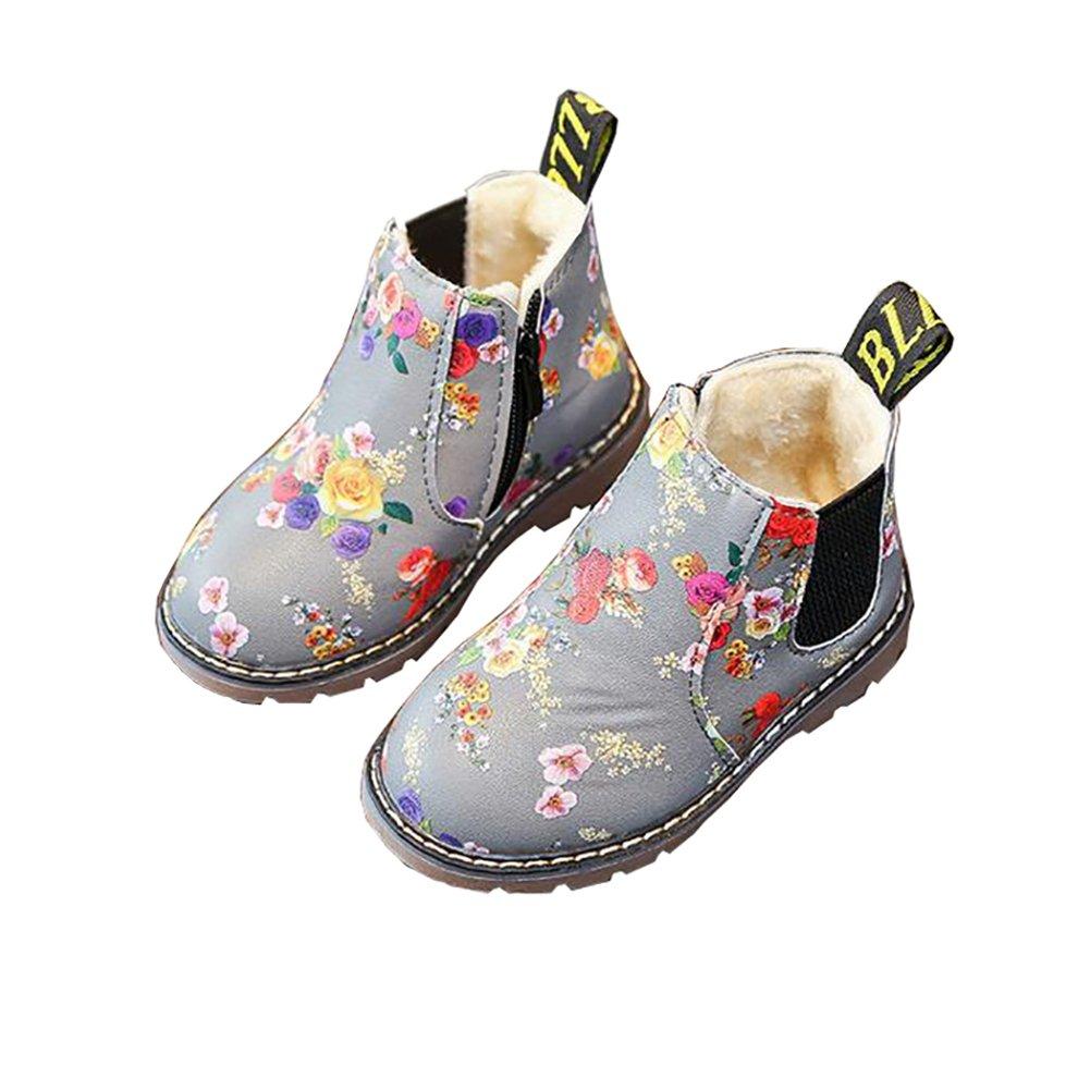 BININBOX Girls Printing Martin Boots Warm Cotton Winter Boots