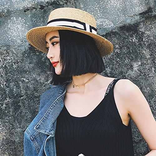 ファッションレディース太陽の麦わら帽子 女性夏イングランドフラットトップサンストローハットシーサイドビーチバケーションサンスクリーンシェードアジャスタブルバイザー CHENGYI