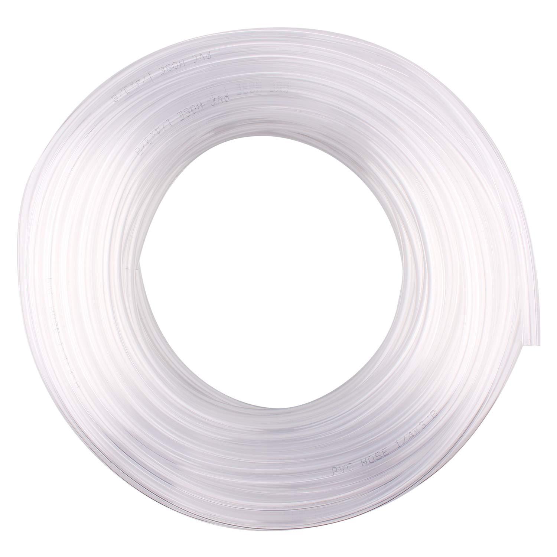 DERPIPE Clear Vinyl Tubing – 1/4'' ID 3/8'' OD PVC Tube Food Grade Flexible Plastic Pipe Hose for Homebrewing, Siphon Pump 30.5 Meters(100ft) Length