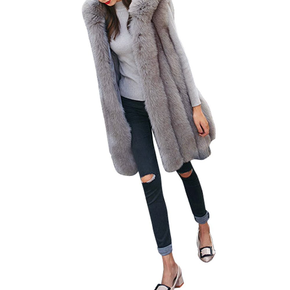 GOVOW Faux Fur Coat Hoodie Fashion Women Waistcoat Vest Gilet Jacket Outwear Cardigan(US:6/CN:L,Gray) by GOVOW