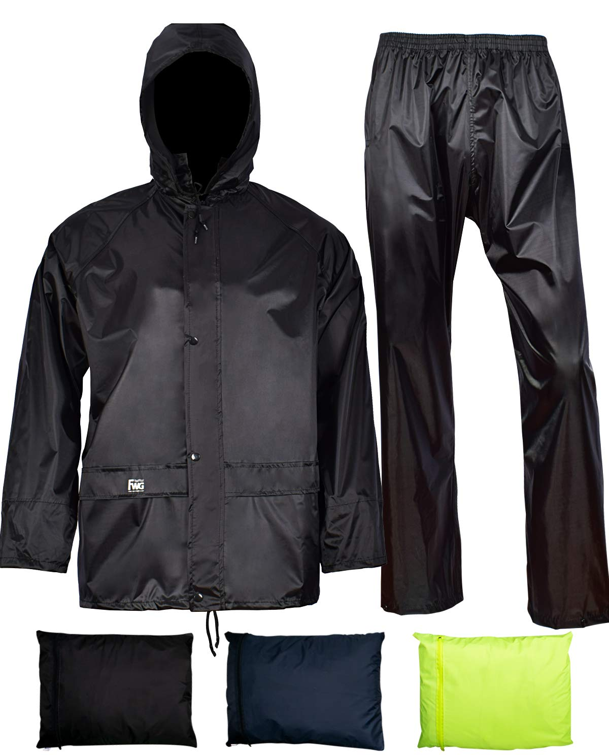 Rain Jacket with Pants for Men Women Waterproof Rain Coat 3-Pieces Ultra-Lite Suits (Large, Black) by FWG (Image #1)