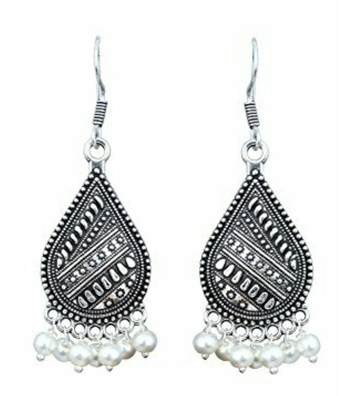 Subharpit White Oxidized Light Weight Traditional Indian Dangle Earrings for Women and Girls