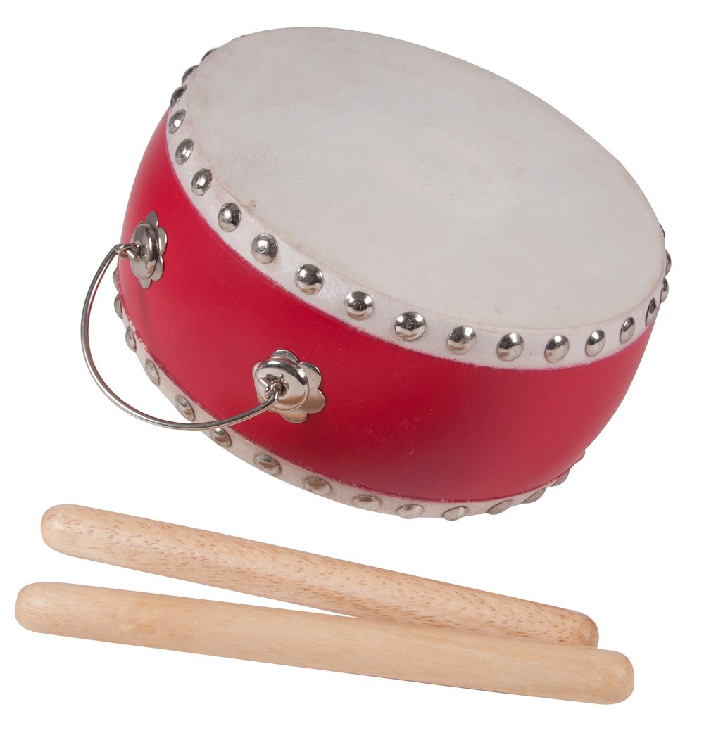 Westco Japanese Style Drum with Handle and Mallets (3 x 6.5 inches; Age 5+)
