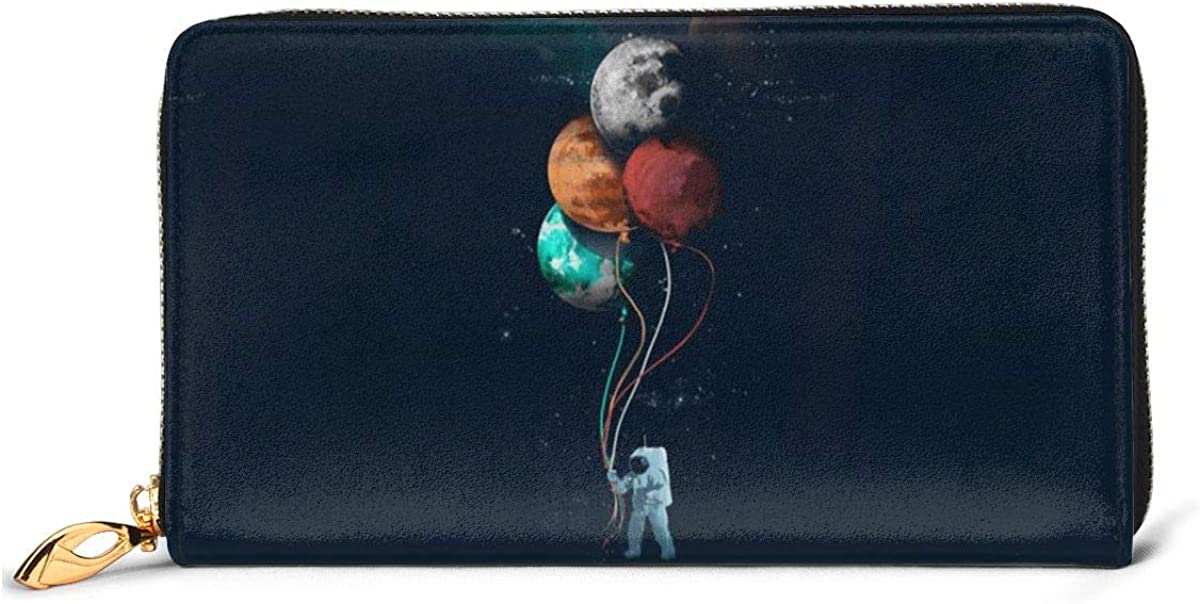 Astronaut Planet Balloon Wallets For Men Women Long Leather Checkbook Card Holder Purse Zipper Buckle Elegant Clutch Ladies Coin Purse