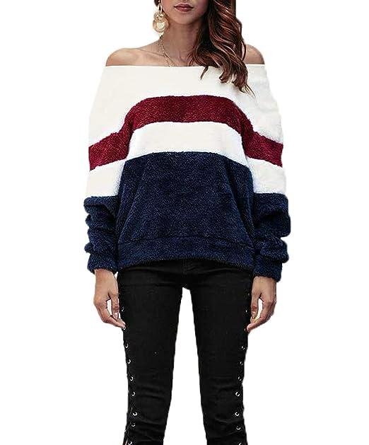 Otoño Invierno Mujeres Plush Sudaderas Joven Moda Cuello Barco Manga Larga Tops Sweatshirt Jerseys Casual Patchwork Suéter Blusa Jumpers T-Shirt Pulóver: ...