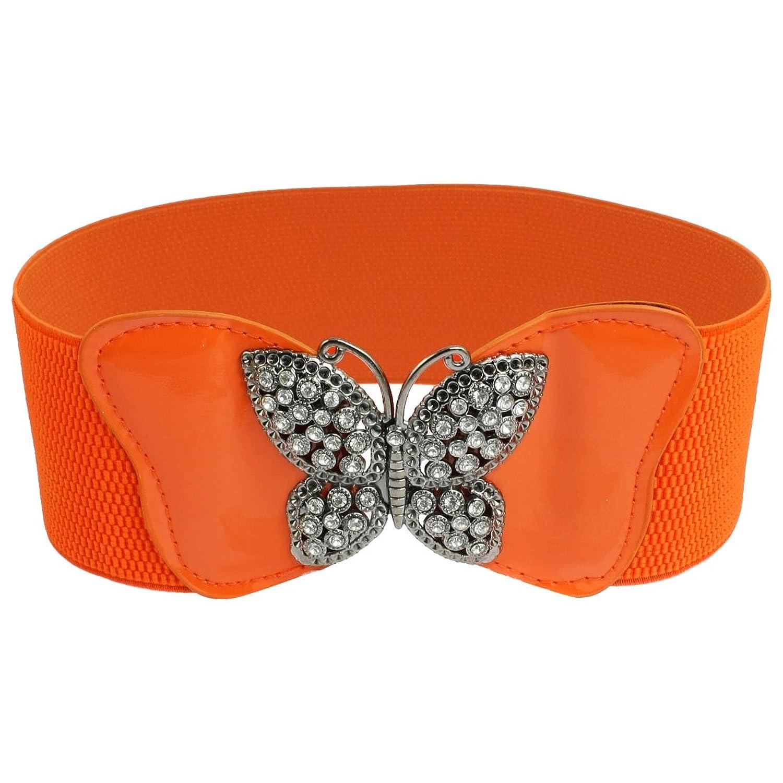 Rhinestone Butterfly Detail Ladies Orange Faux Leather Elastic Waist Belt