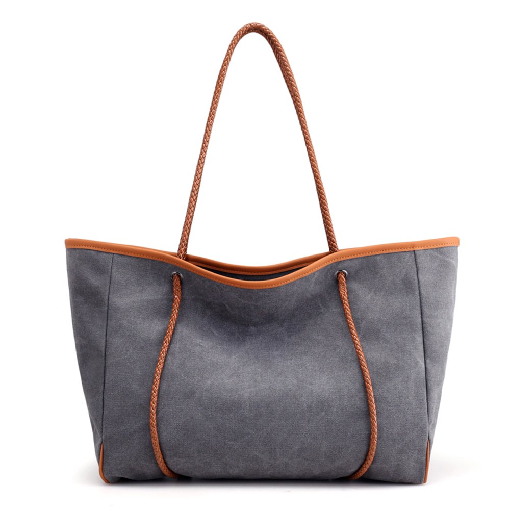 SAMSHOWS Women Basic Canvas Spacious Large Tote Bag Shoulder Bag Beach Bag