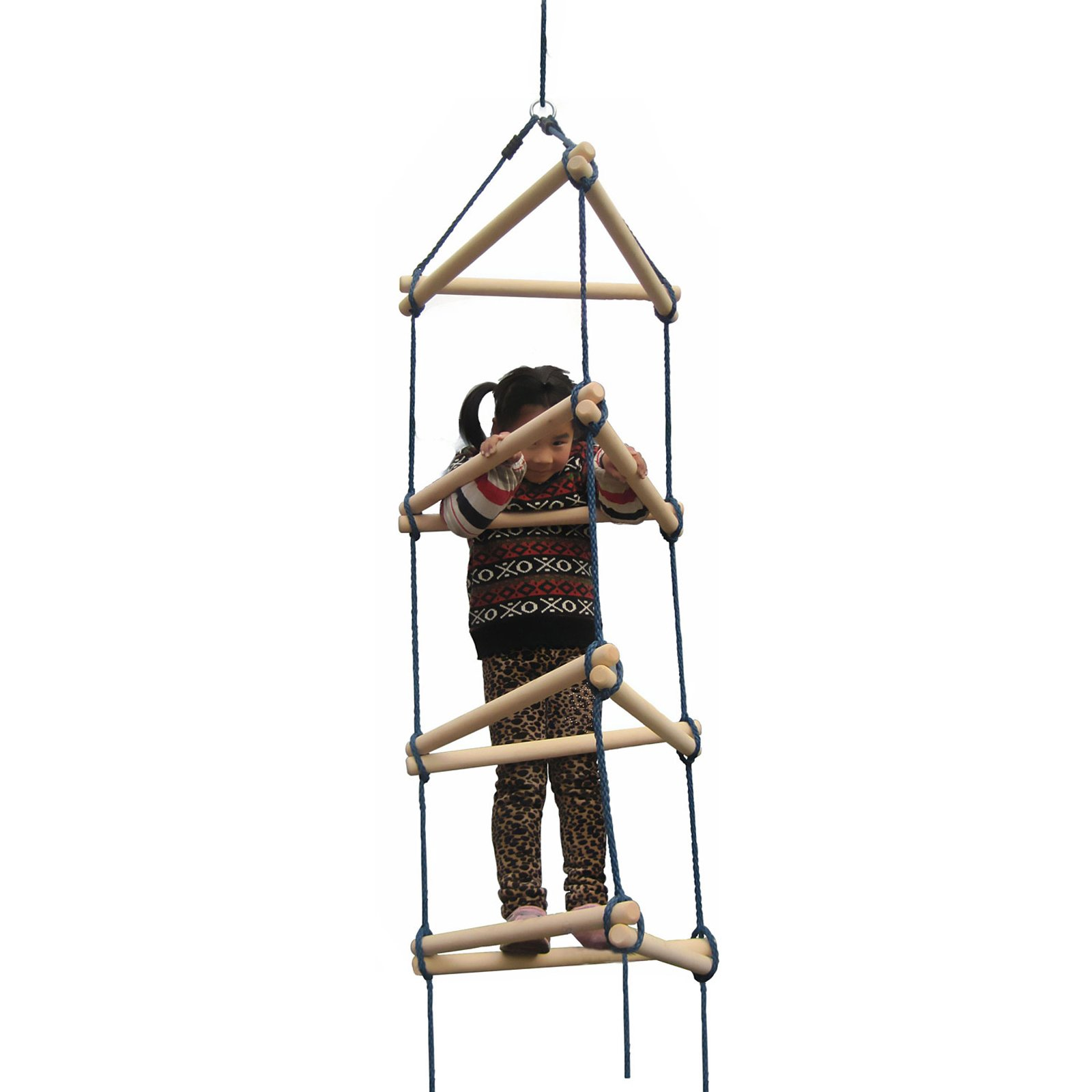 Swing-N-Slide NE 3023 Triangle Rope Ladder Swing Set Climbing Attachment with Ground Anchors, Brown by Swing-N-Slide