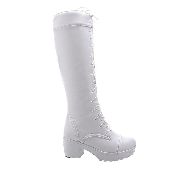 Nonbrand Damen Blockabsatz Schuhe Spitze bis Viktorianischer Knie Länge Stiefel, Schwarz - Schwarz - Größe: 35