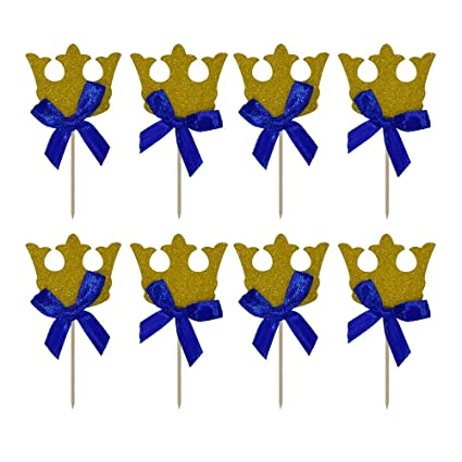HZOnline Gold Crown Cupcake Toppers, with Blue Ribbon Boy Birthday  Decorations Royal Prince Kids\u0027 Gathering DIY Home Theme Party Food Fruit  Cake Picks