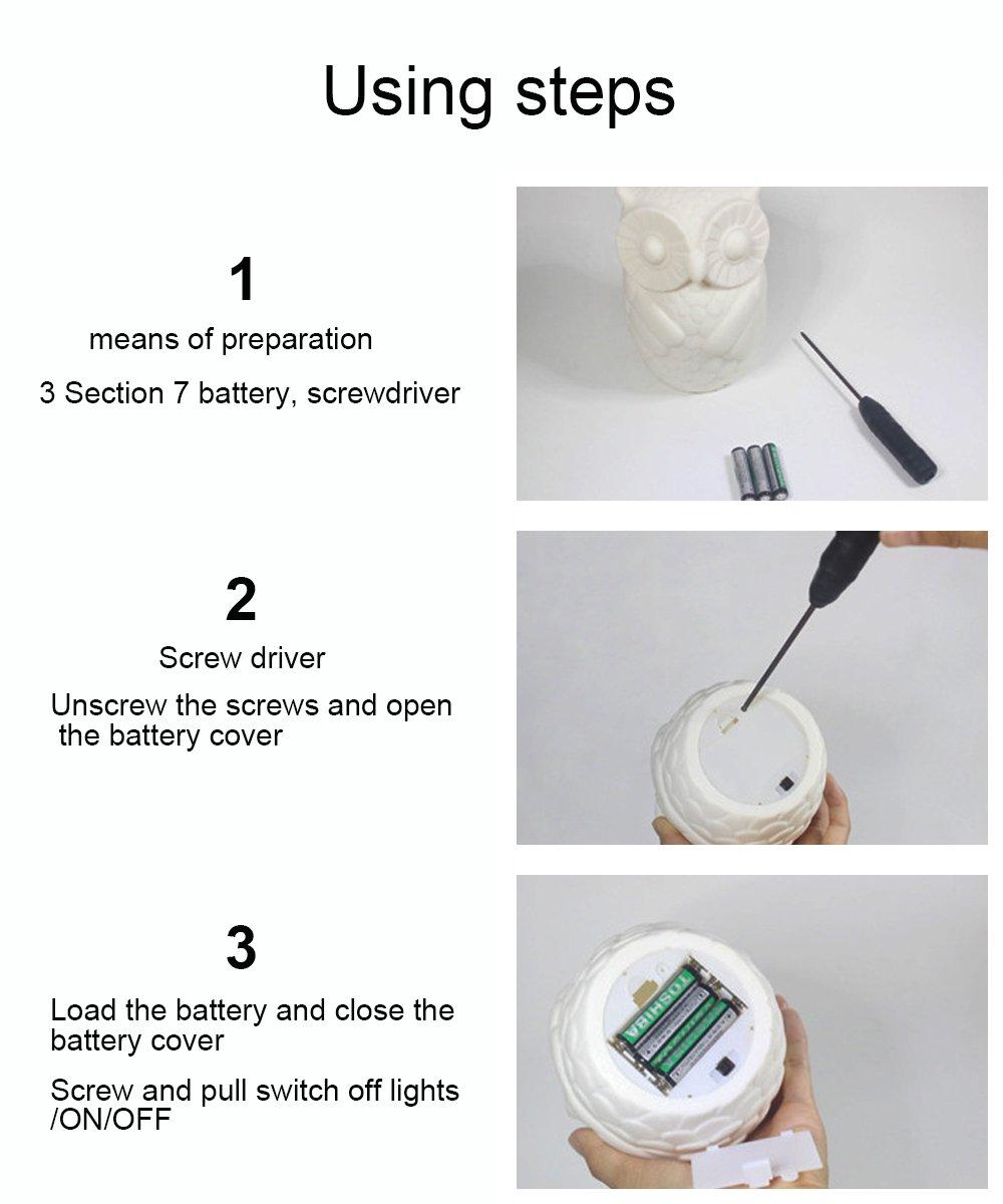 Lovingvs Owl Night Light, Cool White Battery Powered Porcelain Timer LED Table Lamp Desk lamp for Bedroom Decorative by Lovingvs (Image #3)