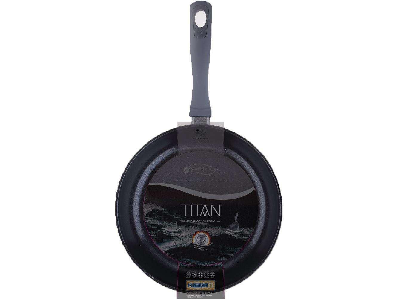Inducción Sartén con Revestimiento de Titanio 20 cm (Sartén, Aluminio, Altura 4,5 cm, Gris): Amazon.es: Hogar
