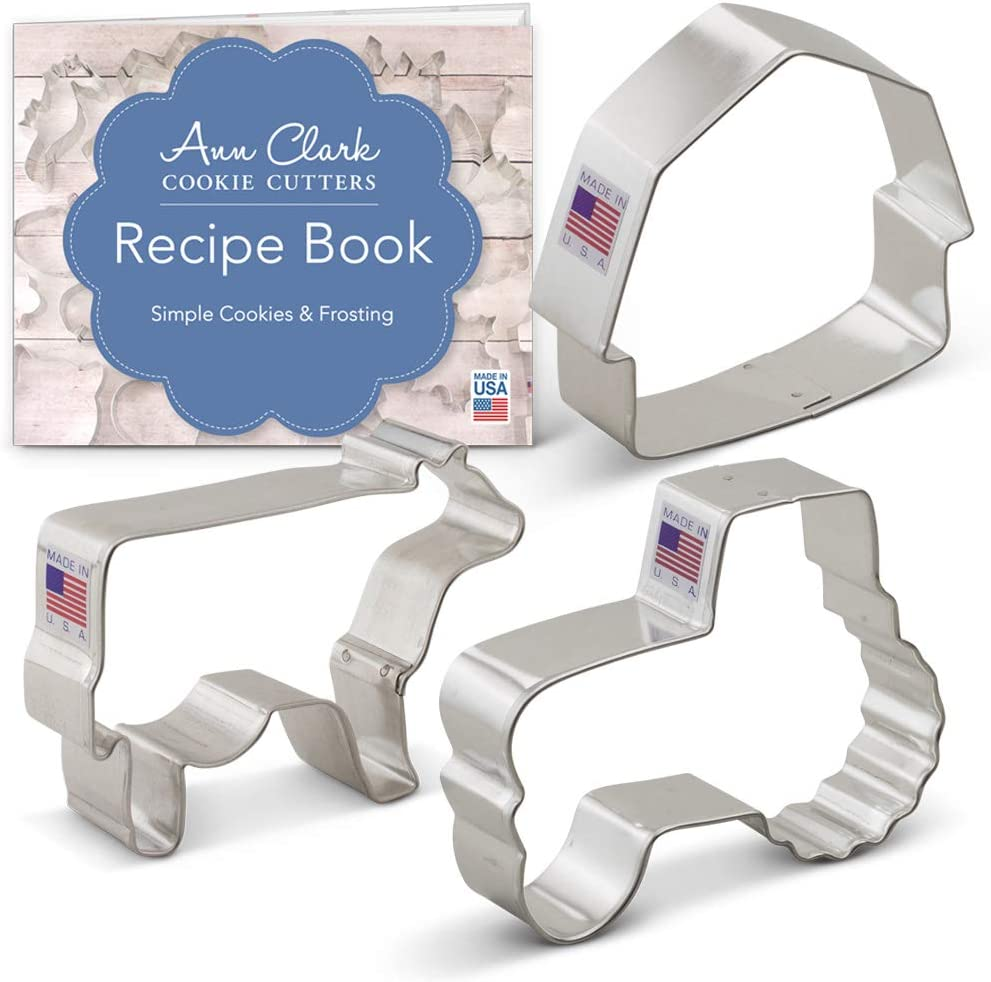 Ann Clark Cookie Cutters 3-Piece Country Farm Cookie Cutter Set with Recipe Booklet, Barn, Tractor and Cow