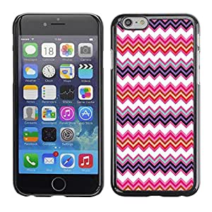 FECELL CITY // Duro Aluminio Pegatina PC Caso decorativo Funda Carcasa de Protección para Apple Iphone 6 Plus 5.5 // Pattern Sew Pink Positive Zig Zag