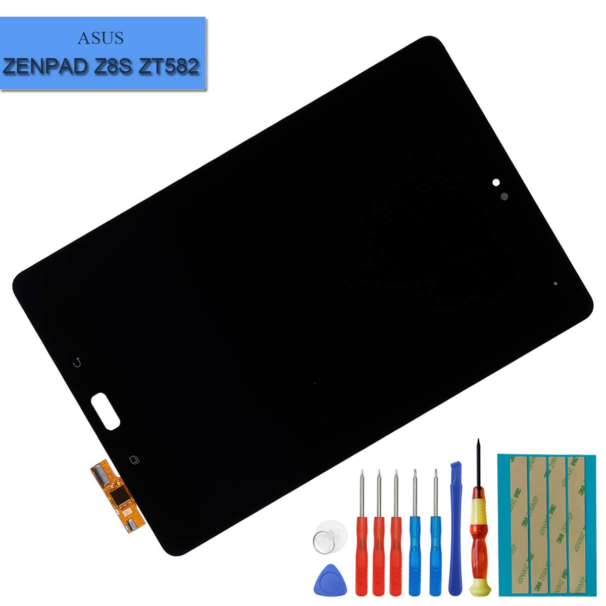LCD Compatible with Asus Zenpad Z8S ZT582 ZT582KL 7.9'' LCD Touch Screen Display Assembly Replacement Parts Black + Tools