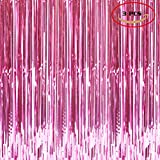 Foil Fringe Metallic Curtain Backdrops - With Balloon Sticks 3FTX8FT Tinsel Shiny Curtains Perfect for Photo Booth Party/Window/Door Decorative Fringe Curtains,Pack Of 3,Pink