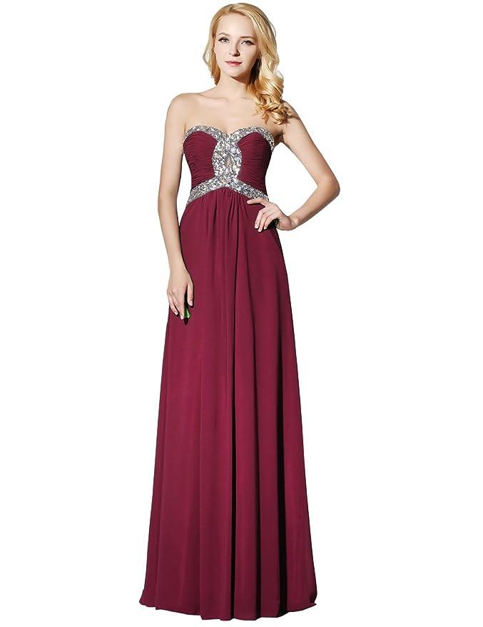 41e6e72d6bb0 Amazon.com: Erosebridal Long Chiffon Prom Dress Evening Gown for Women  Crystal Beaded Bridesmaid Dress: Clothing