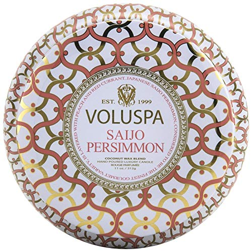 (Voluspa 2 Wick Maison Blanc Metallo Candle, Saijo Persimmon, 11 Ounce)