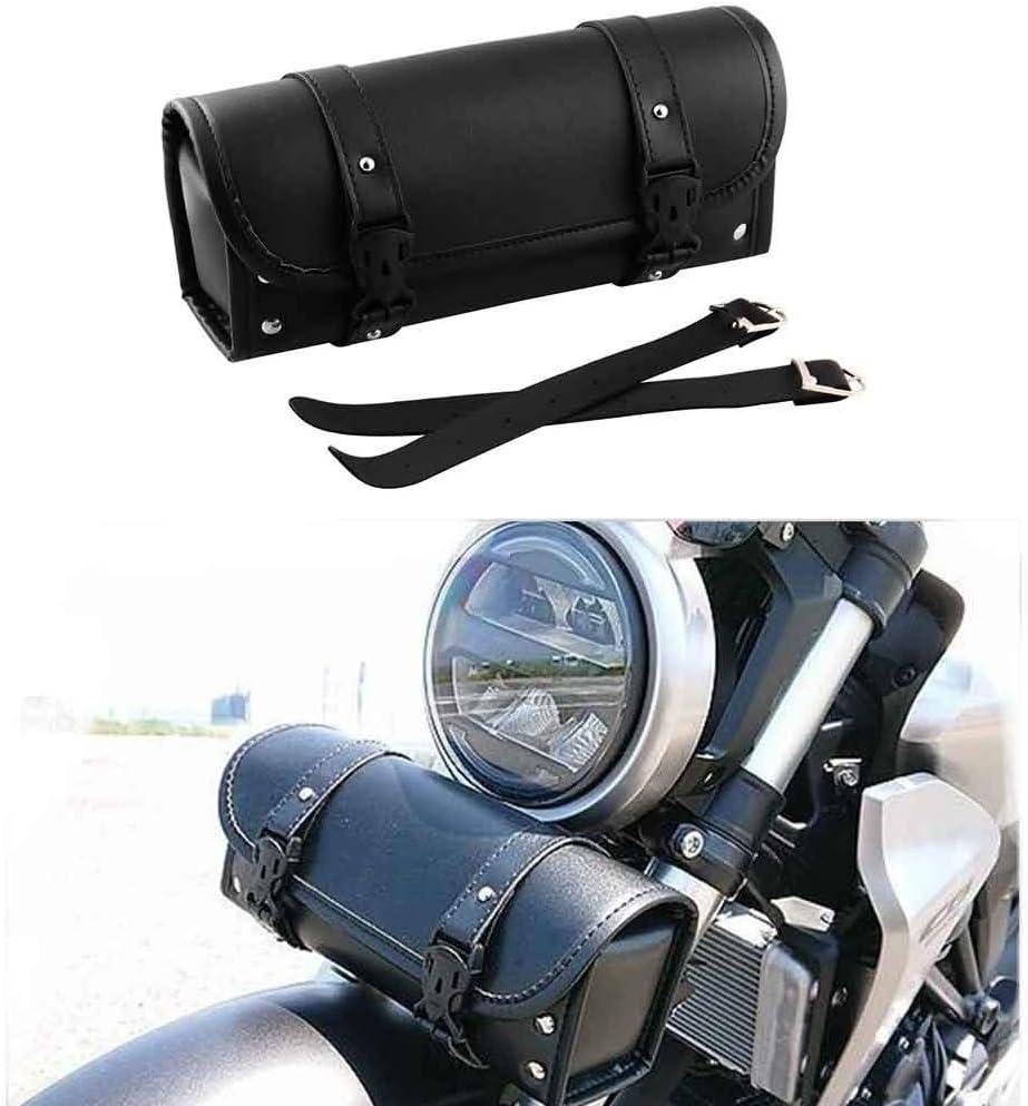 Small Motorcycle handlebar bag Saddle Bag PU Tool Roll Side Luggage Travel Tool Tail Bag with 2 Mounting Straps Black